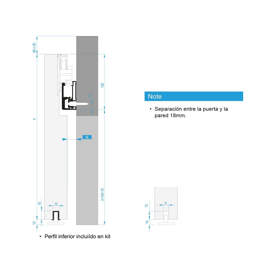 Guía corredera para puertas madera Diva Air