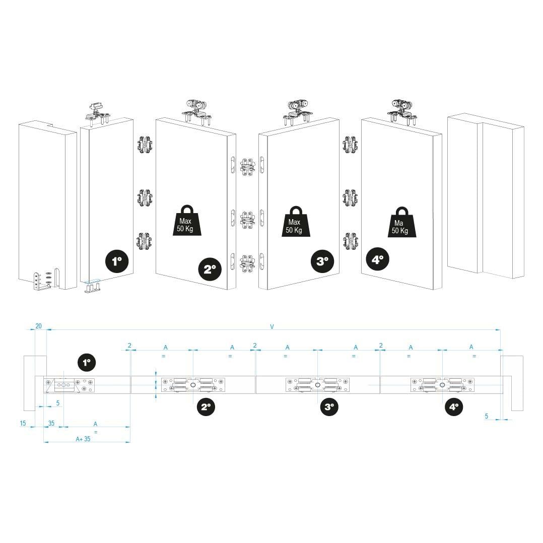 guia correderas para puertas de madera plegable